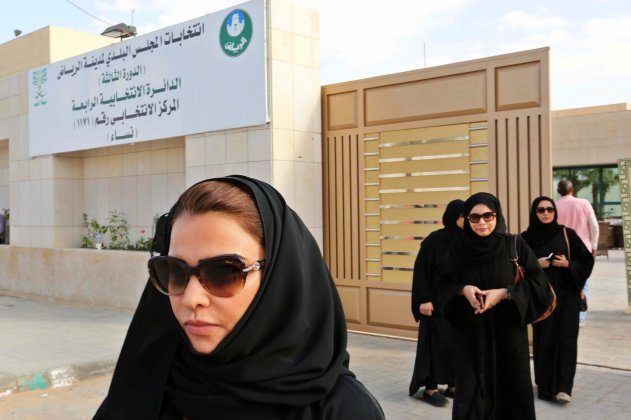 Women left a polling place in Riyadh on Saturday. The municipal elections were the first time that women were able to vote. Ahmed Yosri/European Pressphoto Agency