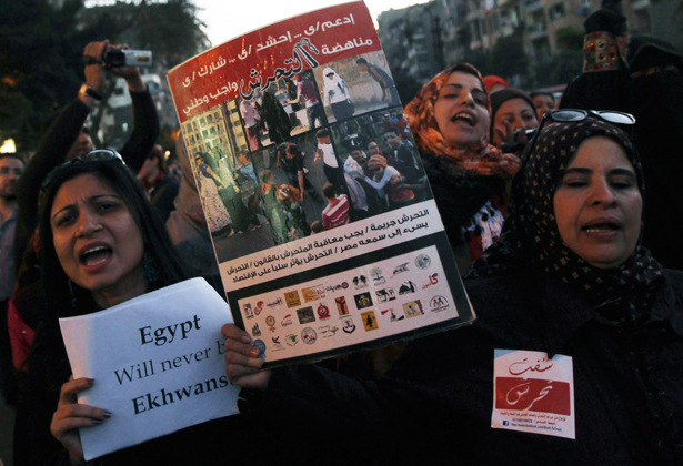 Women shout slogans against Egyptian President Mohamed Morsi and members of the Muslim Brotherhood during a march against sexual harassment and violence against women in Cairo February 6, 2013. (Reuters/Amr Abdallah Dalsh)