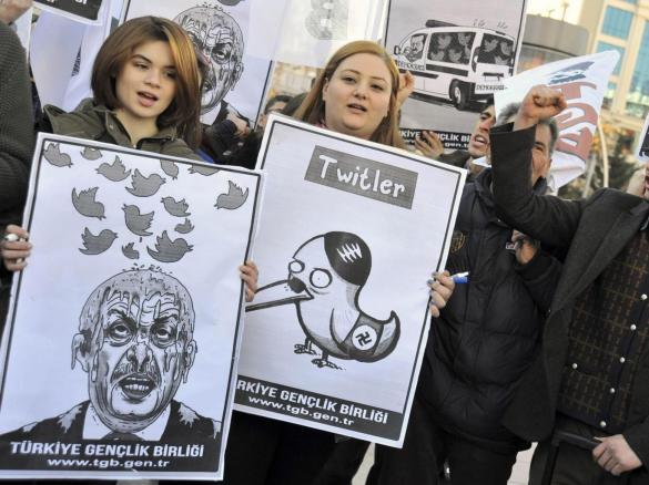 Members of the Turkish Youth Union staged a protest in Ankara last week against an attempted ban on Twitter imposed by Prime Minister Tayyip Erdogan, who vowed to 'wipe out' the social media website. He then turned his attention to YouTube Reuters
