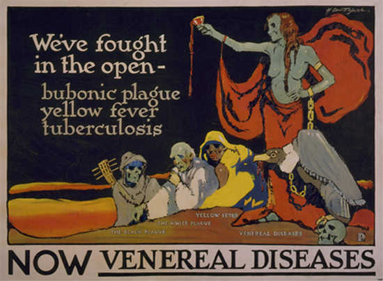 WWI propaganda poster warning soldiers against catching venereal diseases