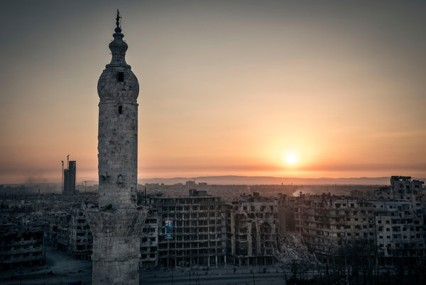 TORN BY WAR The view from a mosque in Homs, Syria, that has served as a rallying point for insurgents.  Credit Sergey Ponomarev for The New York Times