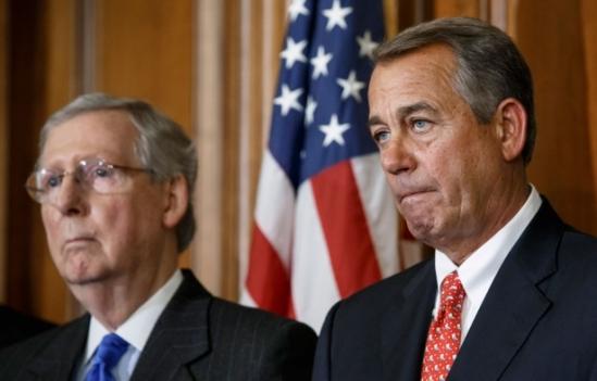 House Speaker John Boehner and Senate Majority Leader Mitch McConnell on Capitol Hill, February 10, 2015 (AP Photo/J. Scott Applewhite)