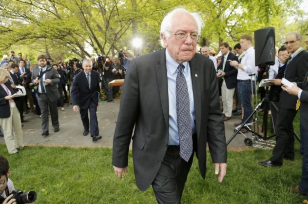 Sen. Bernie Sanders (I-Vt.) on Capitol Hill Thursday announcing his presidential campaign. (REUTERS/Jonathan Ernst)