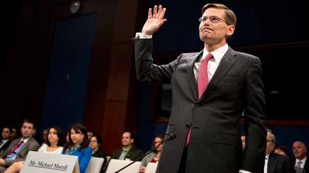 Former CIA Deputy Director Michael Morell is sworn in as he testifes before the House Intelligence Committee. Manuel Balce Ceneta/AP