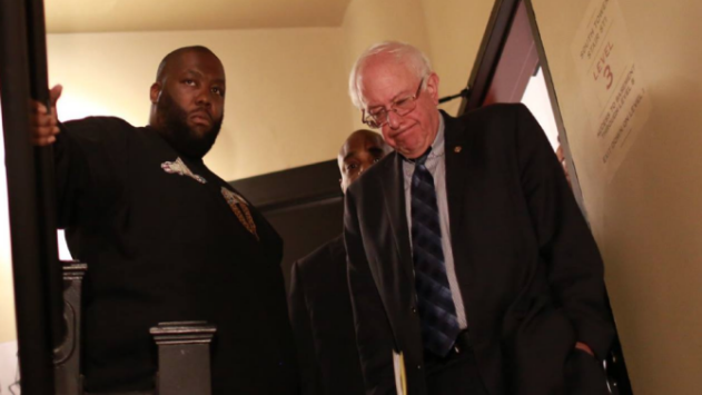 Sen. Bernie Sanders with rapper Killer Mike after Mike's endorsement at an Atlanta rally, November 23, 2015.