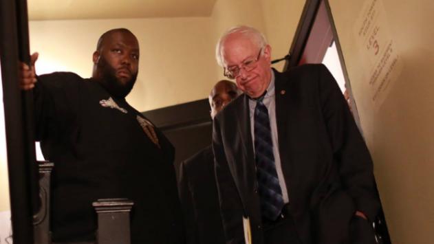 Sen. Bernie Sanders with rapper Killer Mike after Mike's endorsement at an Atlanta rally, November 23, 2015.