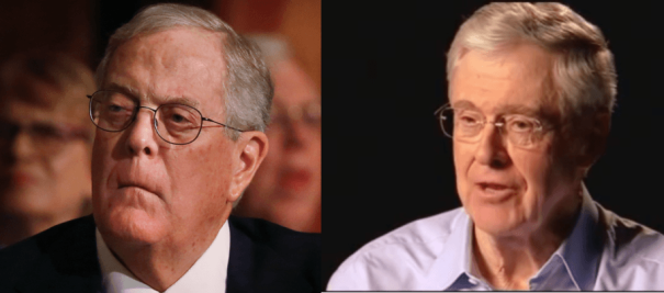It's Charles and David Koch versus the rest of us.  Credit: Reuters
