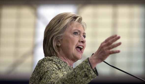 Democratic presidential candidate Hillary Clinton speaks during a campaign event at Hillside High School in Durham, N.C., Thursday, March 10, 2016. (AP Photo/Carolyn Kaster)