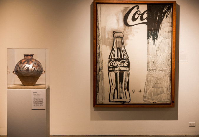 """Neolithic Pottery With Coca-Cola Logo"" (Ai) and Warhol's ""Coca-Cola."" Ai Weiwei; 2016 The Andy Warhol Foundation for the Visual Arts, Inc./Artists Rights Society (ARS), New York; photograph by Chad Batka for The New York Times"