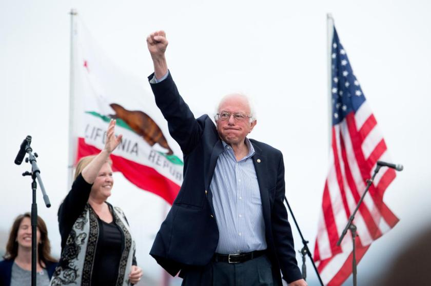 Democratic presidential candidate Sen. Bernie Sanders, I-Vt., and his wife Jane Sanders arrive at a campaign rally on Monday, June 6, 2016, in San Francisco. (AP Photo/Noah Berger)