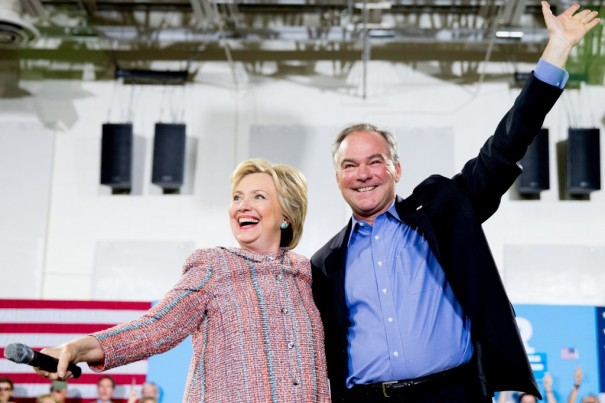 Democratic presidential candidate Hillary Clinton and Sen. Tim Kaine, D-Va CREDIT: AP Photo/Andrew Harnik