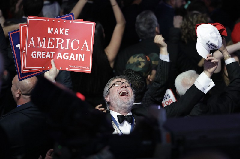 Supporters of Republican presidential candidate Donald Trump react as they watch the election results during Trump's election night rally, Tuesday, Nov. 8, 2016, in New York. CREDIT: AP/John Locher
